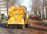 rear of street sweeping vehicle