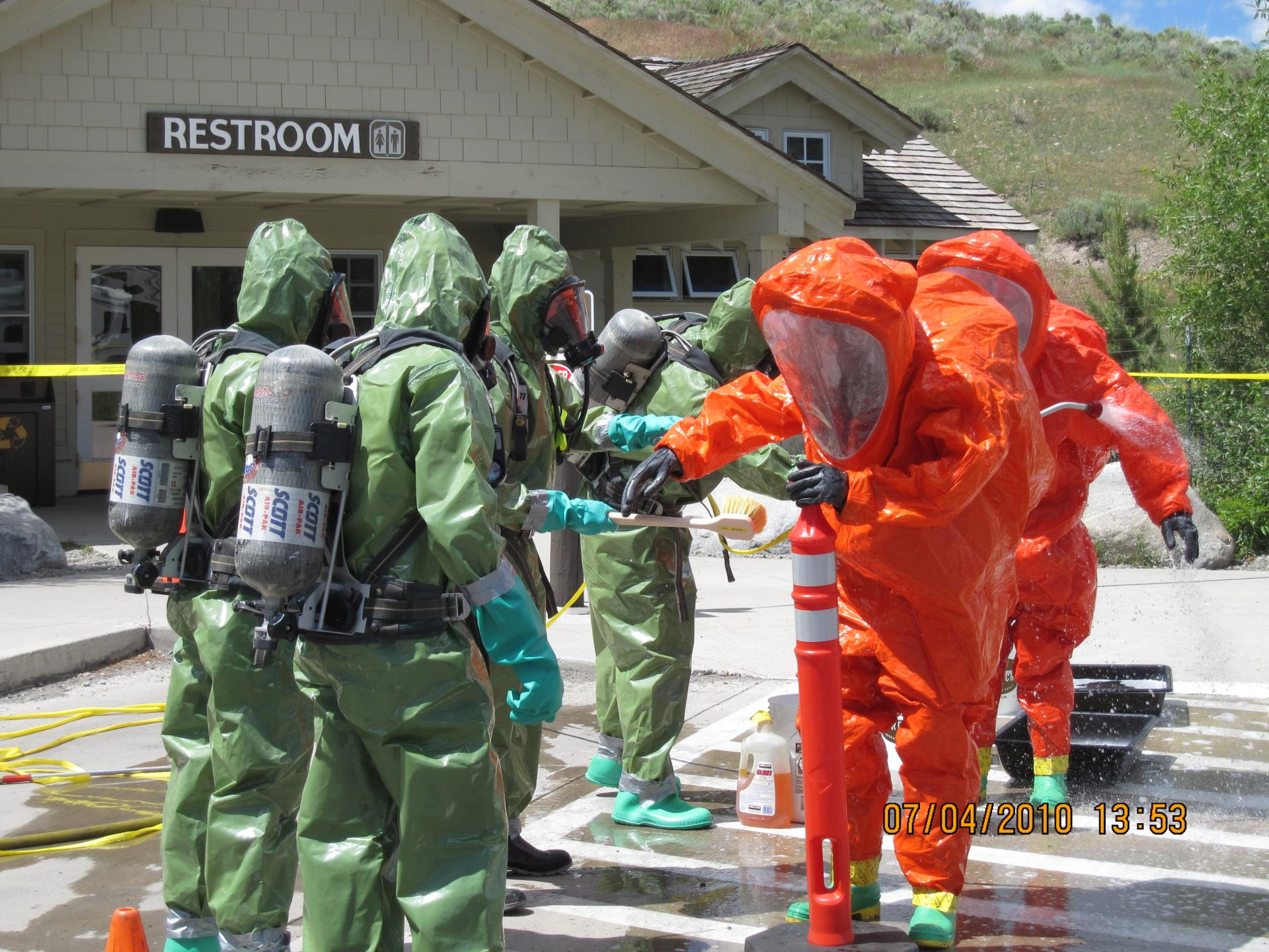 Bozeman Haz Mat team Being Decontaminated