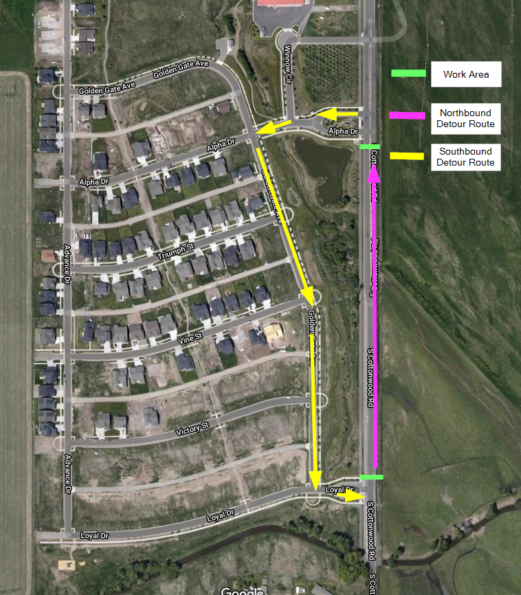 Map showing detour routes for Cottonwood road work.