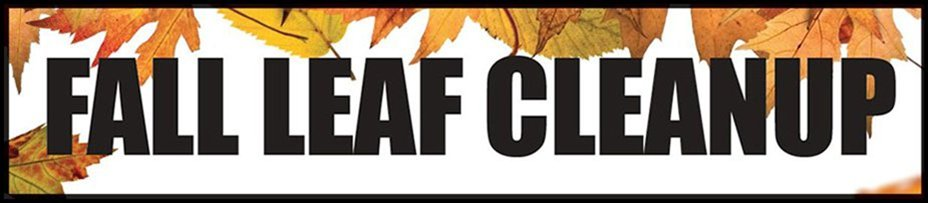 Fall Leaf Cleanup banner with yellow leaves